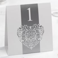 Vintage Romance White & Silver Table Numbers (12)